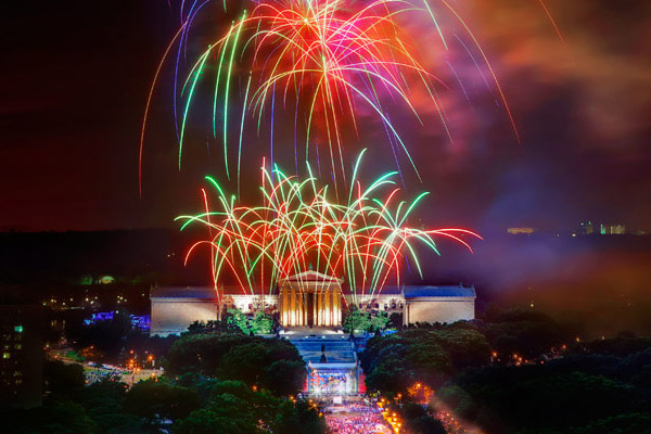 Fourth of July Fireworks over the Philadelphia Museum of the Art